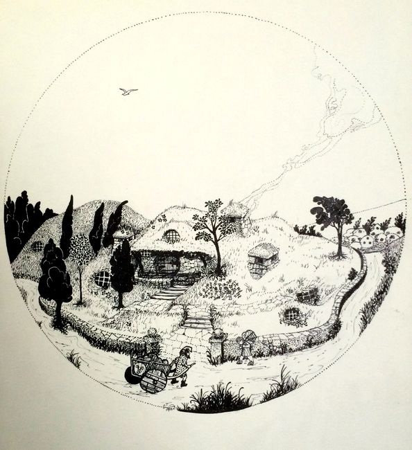 Bilbo Baggins' Home, Bag End, Hobbiton.  Pen /  Ink. Artist: Bill Girard. Royal Oak, MI. 1940-2011