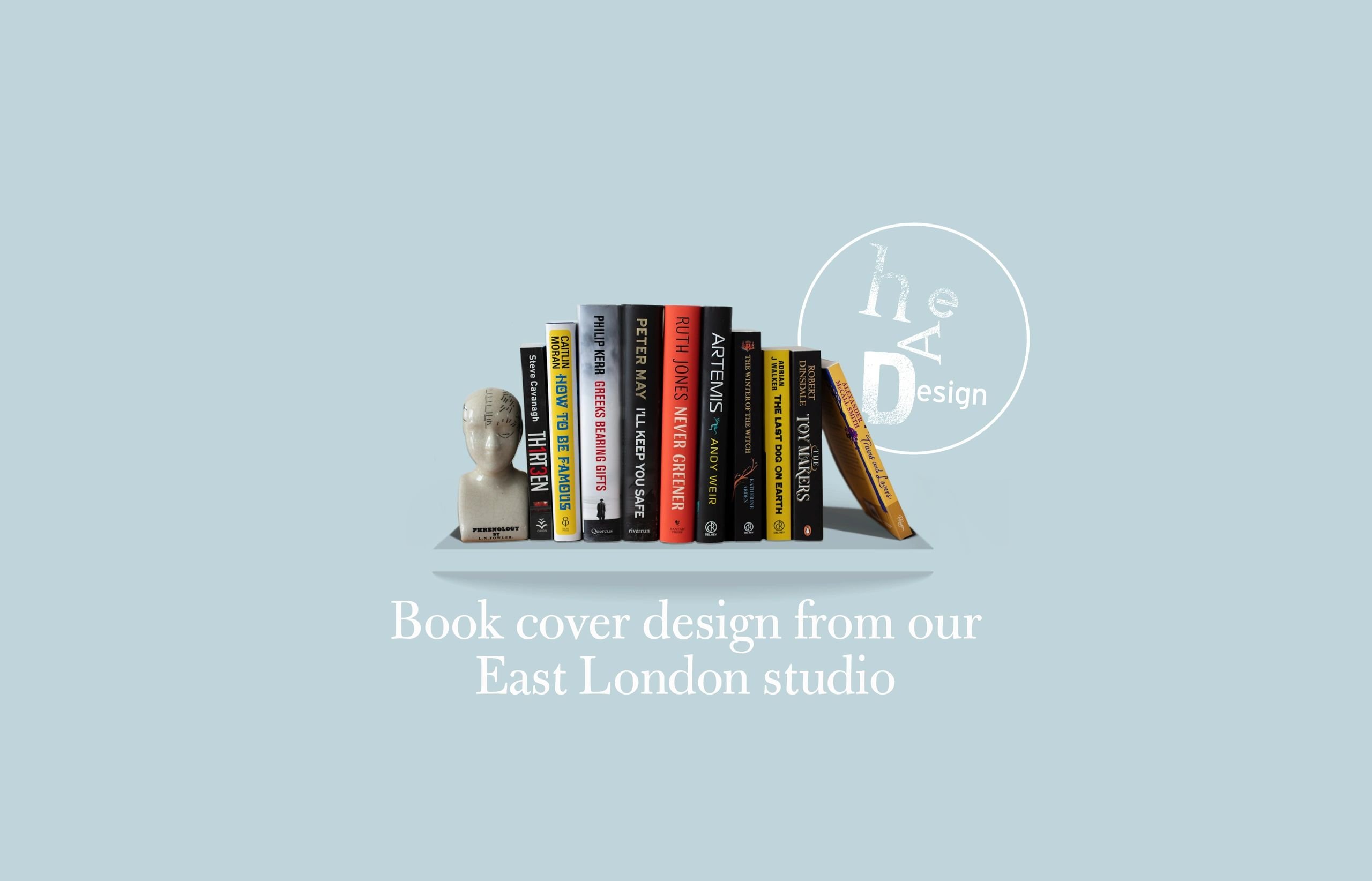 Book cover design from our studio in East London. Our shelfie contains some of our latest work.