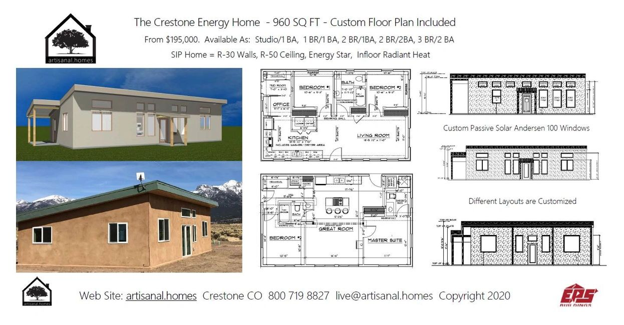 Affordable Living in Crestone.  The Crestone Energy Home features many options for your budget.
