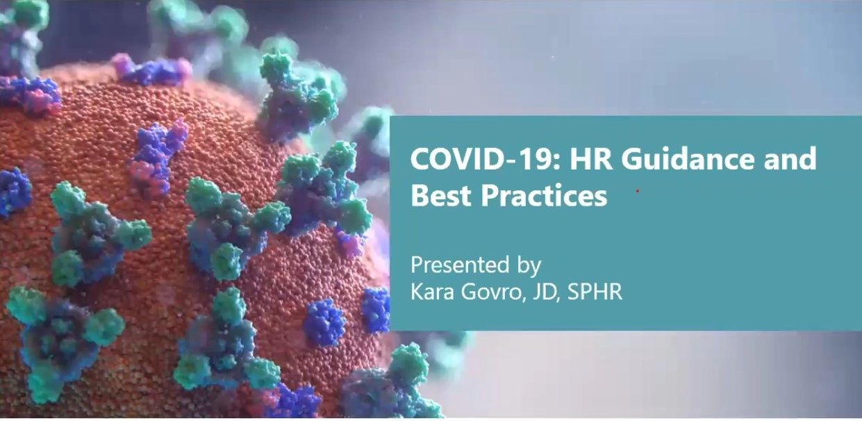 Illustration of the Covid-19 virus with text reading HR guidance and best practice.