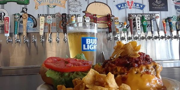 chili cheese burger with beer taps