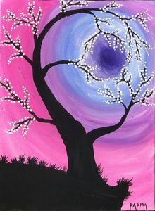 Abstract art. Whimsical tree on canvas with acrylics. I heart painting
