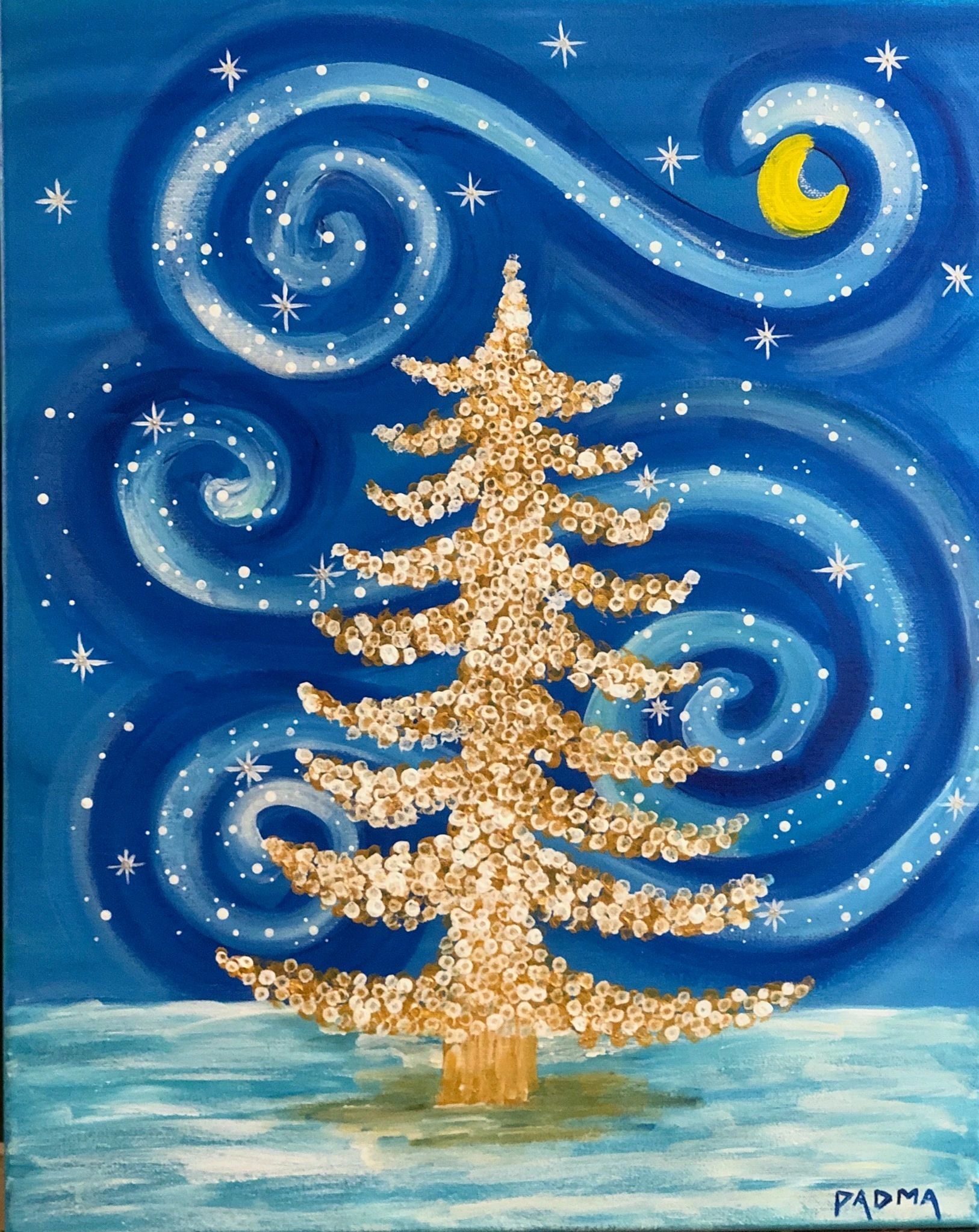 Golden tree, acrylics, paint nite, redmond, events near me, stars, date, fun, coffee, soul, nite out