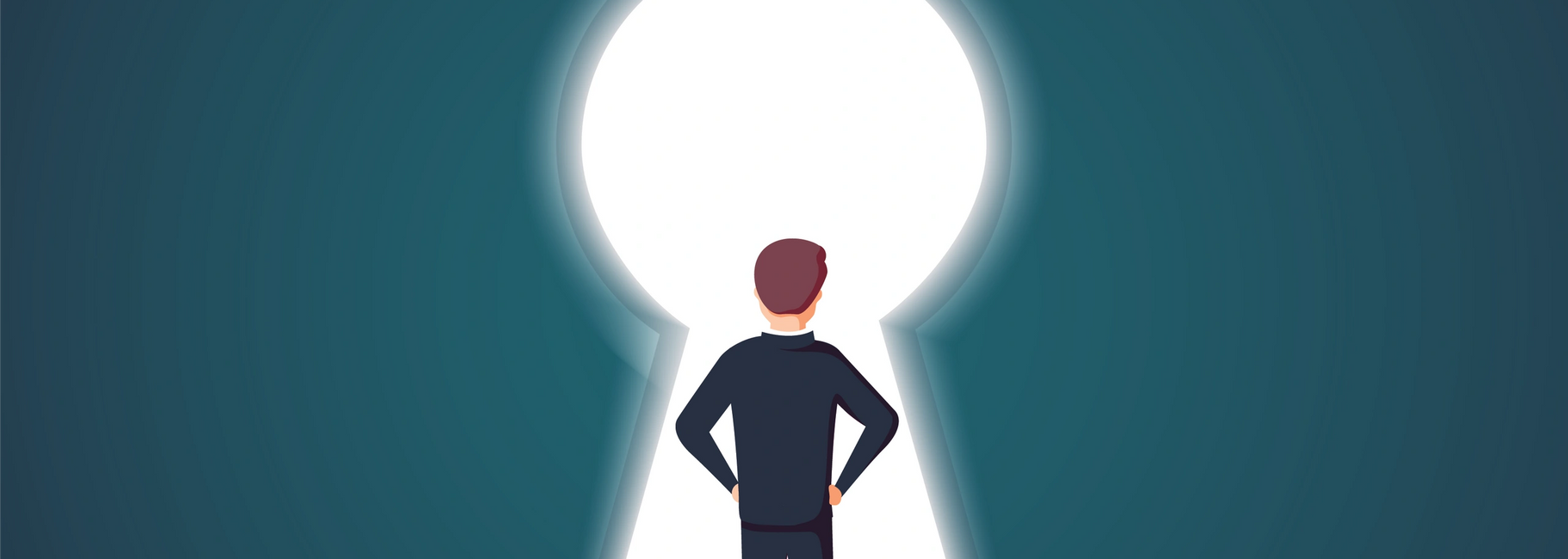 Businessman standing in a keyhole. Symbol of  solution, way on or access.