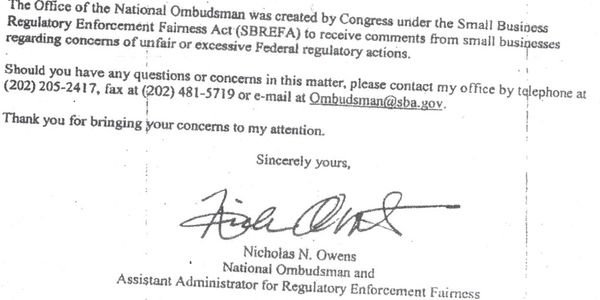 Document signed by Nicholas Owens, National Ombudsman