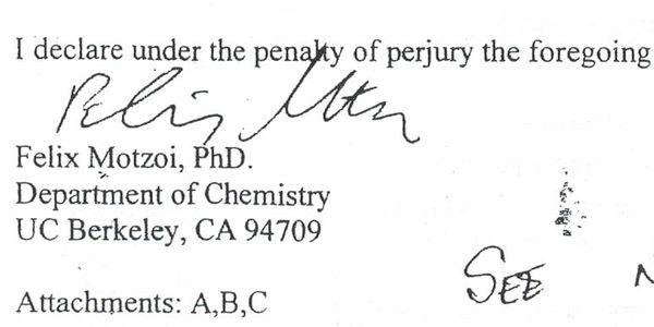 Official document signed by Felix Motzoi, PhD.