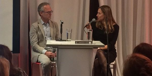 Julie with Amor Towles, author of Gentleman in Moscow and Rules of Civility.