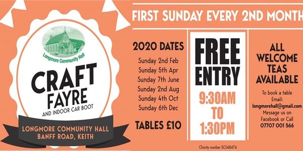CRAFT FAYRE & INDOOR CAR BOOT First Sunday of Every 2nd Month 9.30 am - 1.30pm