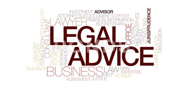 Word cloud with the largest words being Legal Advice, Lawyer, Business Advisor