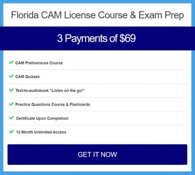 Florida CAM 18 hour prelicensure course in 3 instalment payments