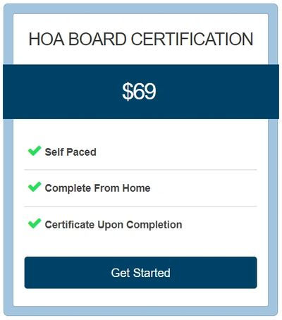 Homeowners Association, HOA, Board Certification Course