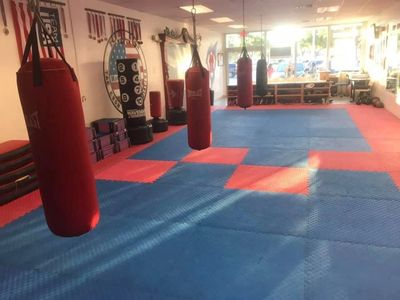 Hanging Punching Bags in Martial Arts school