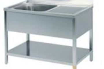 Single Bowl Sink Unit with Drain, Back Splash and Under Shelf