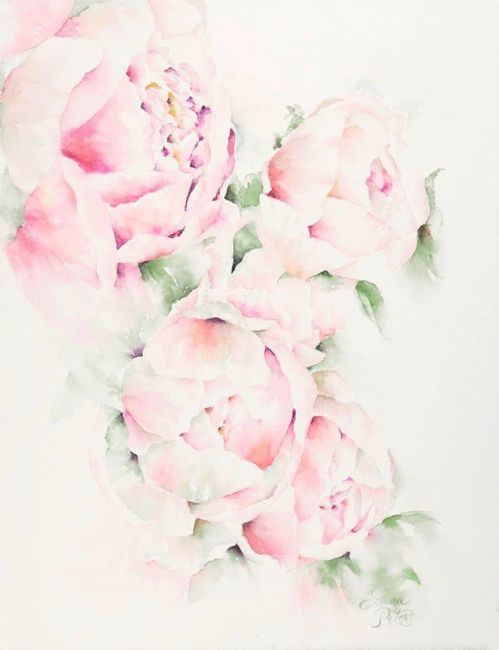 Watercolor Peonies by Laura Peters