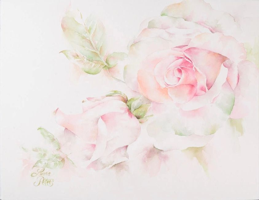 Watercolor Roses By Laura Peters
