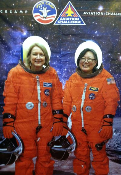 Sylvia Vardell & Janet Wong (astronauts at an NSTA conference) are expanding the poetry frontier