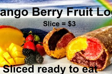 Pureed blackberry, strawberry, mango embraced with a date almond orange wrap. Frozen and sliced. Amazing!