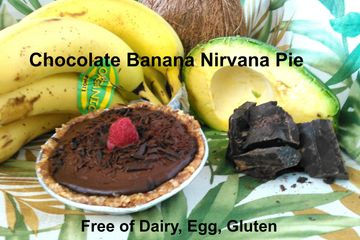 "Organic bananas blended with avocado , dark chocolate, organic coconut oil, date-almond-orange zest crust.  offered in 4"" tarts"