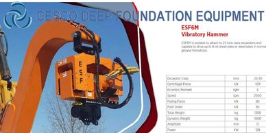 Cesco Deep Foundation Equipment 6M series Excavator mounted Vibratory hammer