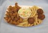 POPCORN CATFISH BASKET WITH FRIES OR TOTS,COLESLAW & HUSHPUPPIES