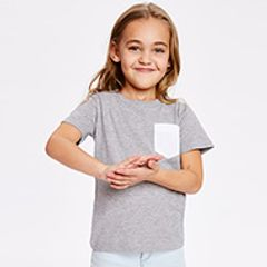 A girl child wearing a grey Tshirt with white pocket detail