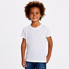 A boy child wearing a plain white Tshirt