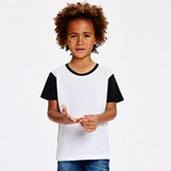 A boy child wearing a white Tshirt with black short sleeves