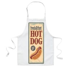 A white apron with a hot dog sign printed on it sitting on a white background