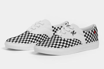 Speed Monkey Men's 2020 Black and White Checker Lors Canvas Lace Up Shoes