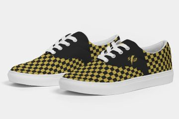Speed Monkey Men's 2020 Gold Checker Lors Lace Up Canvas Shoes.