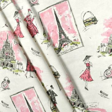 Tres Chic Black Pink Cotton Print Fabric