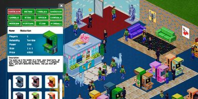 simulation, tycoon, arcade tycoon, retro, arcade, isometric, 2d, strategy game, indiegame, steamgame