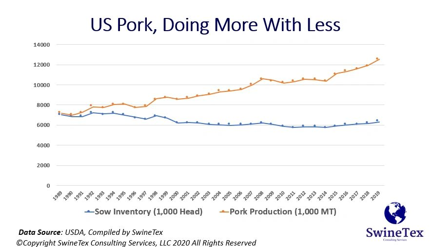 US Pork Production Efficiency 1989 to 2019