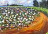 "Back Road Cotton Field, 18""x24"" Acrylic and Mixed Media, original in the collection of the artist, Prints available"