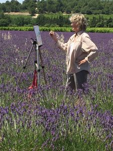 M L Porter painting in the lavender fields in Provence.