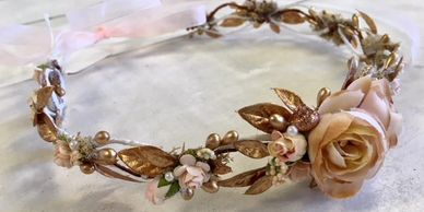 Handmade floral wreaths & crowns for brides, bridesmaids & flower girls in a variety of color/styles