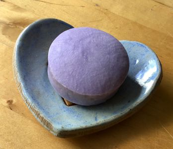 Heart shaped soap dish with soap bar