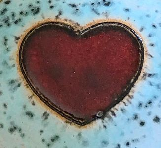 Karin findell ceramics large red heart with turquoise background