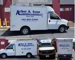 Vehicle Lettering in Maryland. Acker & Sons truck Van Lettering in MD