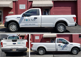 Pool Service Vehicle, lettered by Master Graphics