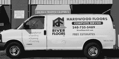 River Floors Van Lettering in Rockville, MD Rockville signs  Wraps in Montgomery County