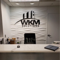 WKM Solutions  Reception Wall Lettering  3-D Lettering Raised Letters on Reception Wall