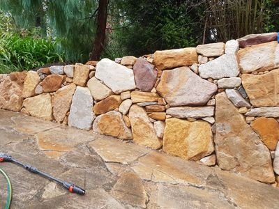 sandstone dry stacked wall completed in the southern highlands.
