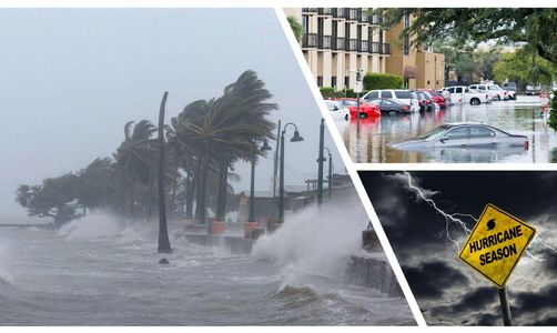 collage of images of flood, hurricane landfall, storm surge and hurricane season sign