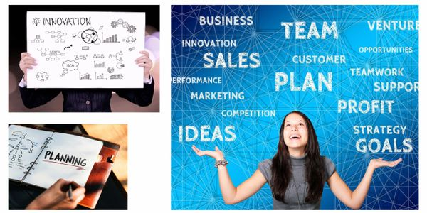 collage with business planning and innovation and business strategy images King Enterprise USA