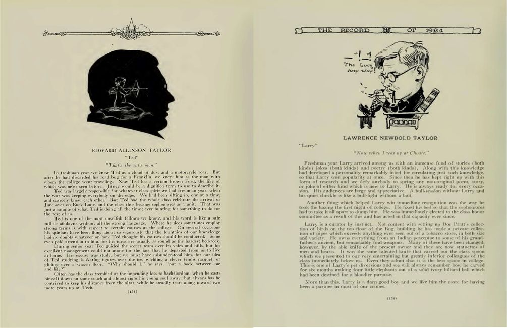 The 1922 & 1924 Haverford Records of Edward & Lawrence Taylor