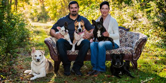 Lori and Joe Magee pictured with their canine family