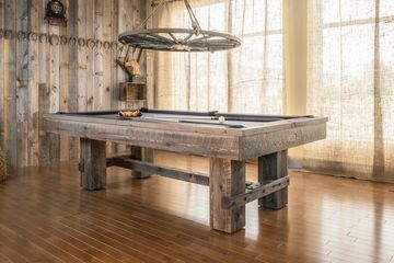 Barn Red Pine pool table by Canada Billiard