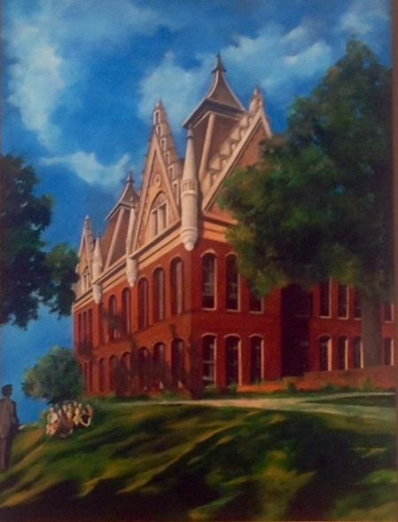 Old Main, circa 1961, by Brother Larry Dunham, resides in Austin Hall on the SHSU  Campus.