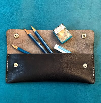 Leather pencil case made in beginners leather class in Edinburgh.